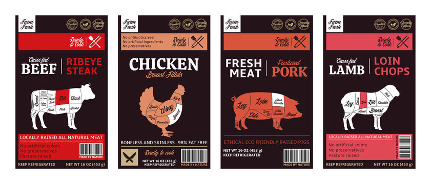 Vector butchery modern style labels. American (US) cuts of beef, chicken, pork and lamb diagrams