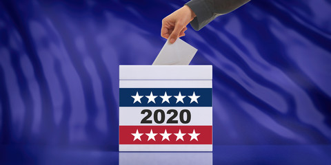 2020 USA election. Hand inserting an envelope in a ballot box slot, blue background. 3d illustration
