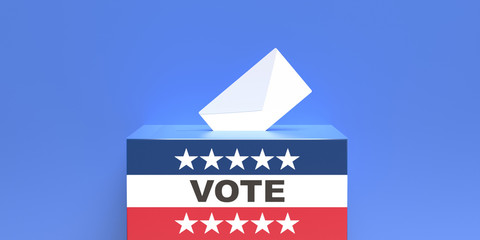 US election. USA flag ballot box and envelope on blue background. 3d illustration
