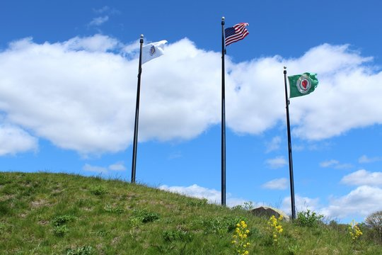 Flags of Worcester Ma, Massachusetts, and USA