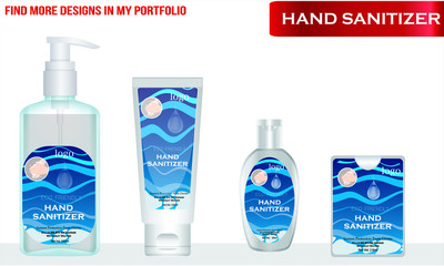 Wall Mural - Hand sanitizer with label design. Packaging design. Advertising of hand sanitizer. Hand disinfectant. Personal hygiene. vector Illustration
