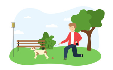 Ecology illustration. On the image the guy walks the dog in the park, removing the waste products of the animal, against the background of a tree, bench, bush, lantern