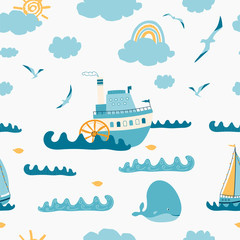 Children's seamless pattern with seascape, steamer, sailboat, whale, Seagull on white background. Cute texture for kids room design, Wallpaper, textiles, wrapping paper, apparel. Vector illustration