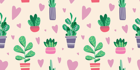 House plants in pots and vases. Beautiful hand drawn isolated element vector seamless pattern.