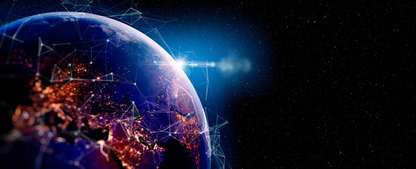 Photo of Communication technology for internet business. Global world network and telecommunication on earth and IoT. Elements of this image furnished by NASA