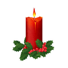 Bright big Advent red candle. Colorful Christmas clip art on white background