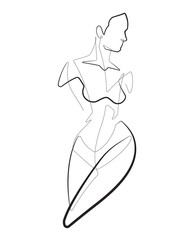 Female One Continuous Line Abstract Vector Icon Graphic Drawing