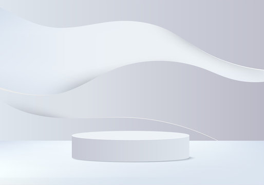 Minimal Podium and scene with 3d vector render in abstract gray background composition, 3d illustration mock up scene geometry shape platform forms for product display. stage for awards in modern.