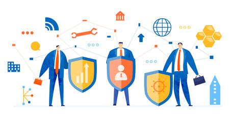 Internet security and data protection team. Business people, IT support, digital security guards concept.