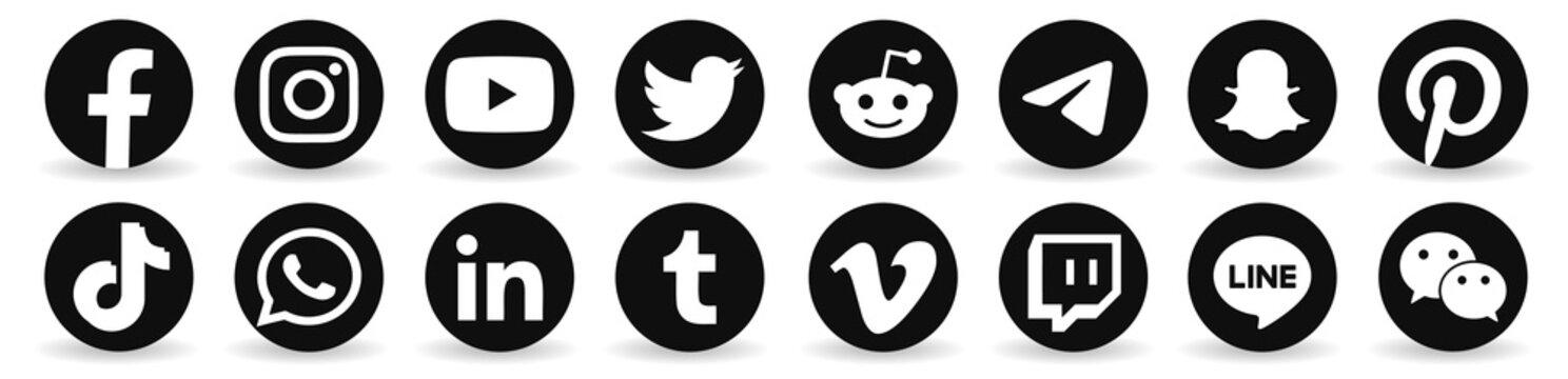 Facebook, twitter, instagram, youtube, reddit,telegram,snapchat, pinterest, tiktok logo.. Facebook, twitter, instagram, youtube, reddit,telegram,snapchat, pinterest, tiktok sign black
