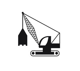 Construction Crane Icon flat design. Construction machinery vector illustration isolated on white vector illustration.