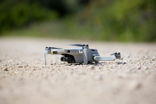 mini Mavic drone on the ground