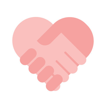 Charity help concept, flat holding hands heart sign vector illustration