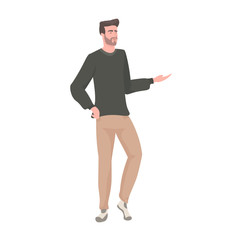 Wall Mural - young man in casual clothes male cartoon character standing pose full length vector illustration