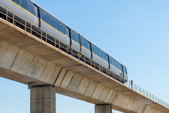 Atlanta, USA - April 20, 2018: Metropolitan Atlanta Rapid Transit Authority Marta subway train public transportation on overpass outside
