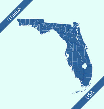 Counties map of Florida state of United States of America