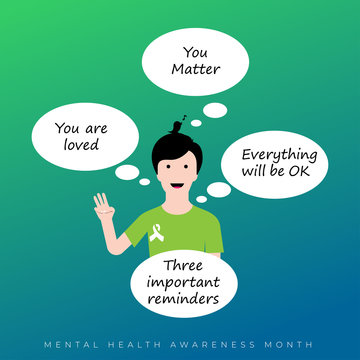 Mental Health Awareness Month in May. Annual campaign in United States. Raising awareness of mental health. Control and protection. Prevention campaign. Medical health care design.