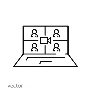 video conference, vector icon, concept remote conversation, distant call or teleconference virtual, thin line symbol on white background