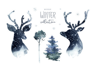 Wall Mural - Watercolor winter forest with deer head. Christmas tree landscape with Pine Trees fir in the Mountains. Hand painted Isolated on white Background. Snow holiday design
