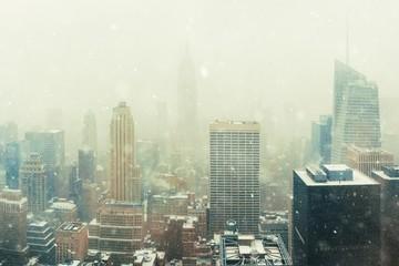 Fototapete - New York City skyline in snow