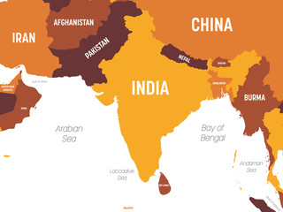 South Asia map - brown orange hue colored on dark background. High detailed political map of southern asian region and Indian subcontinent with country, ocean and sea names labeling