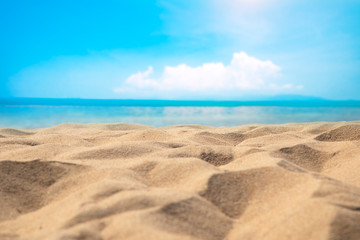 Wall Mural - Blur defocused background of tropical beach and blue sea and sky with white cloud