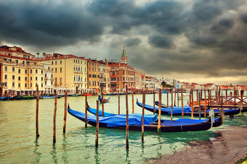 Gondolas in Venice at cloudy day