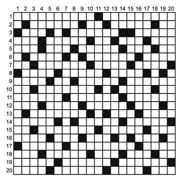 Crossword puzzle vector. 20 x 20 Square crossword puzzle game.