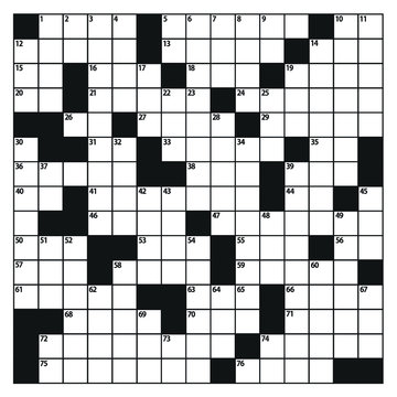 Square crossword puzzle game vector.  American-style crossword puzzle.
