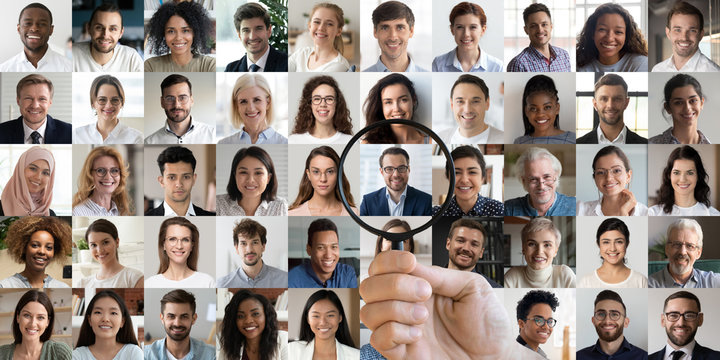 Male hr manager holding magnifier choosing hunting human resources data finding new right recruit among multiethnic professional people faces collage. Recruitment assessment, staff search concept.