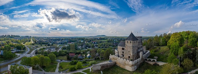 Panoramic aerial drone view on Bedzin and castle on the hill. Fotomurales