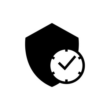 Long term protection icon in black flat shape design icon, isolated on white background
