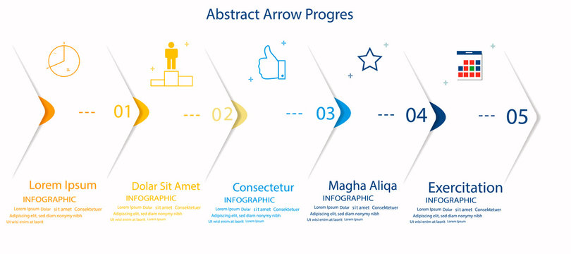 Eight paper white overlapping arrows placed in horizontal row. Concept of 5 successive steps of progressive business development. Simple infographic design template. Abstract vector illustration.