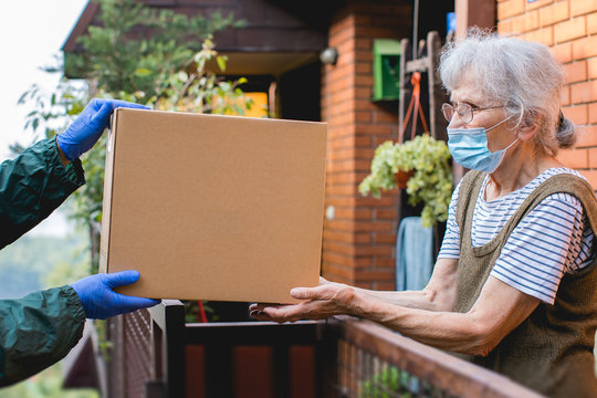 parcel box delivered to elderly person during epidemic lockdown isolation