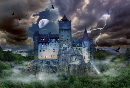 Famous historical castle of Count Dracula in Bran town, the legendary landmark of Transylvania in Romania