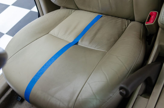 Leather car seats are dirty