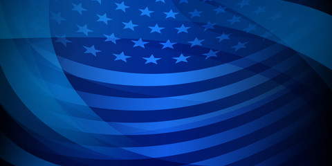 USA independence day abstract background with elements of the american flag in dark blue colors Fotomurales