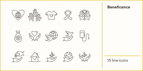 Beneficence icons. Line icons collection on white background. Cancer ribbon, conservation, crowdfunding. Help concept. Vector illustration can be used for topics like charity, support, volunteering Wall mural