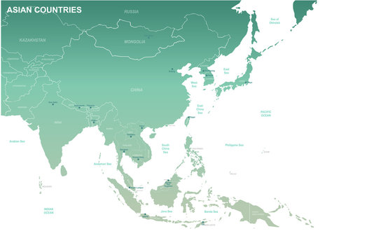 asia map. detailed vector map of asian countries.