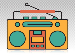Old radio flat icons on a transparent backgrounds