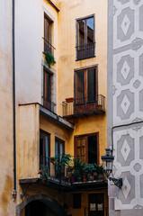 Old residential buildings on La Rambla street in Barcelona, Spain.
