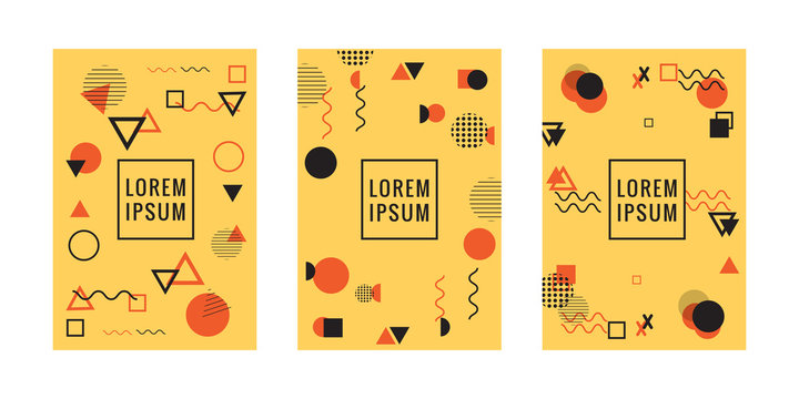 Set of neo Memphis style covers. Collection of cool bright covers. Abstract shapes compositions