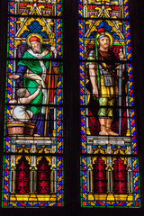 Fotobehang Stained Low Angle View Of Stained Glass Window In Mirepoix Cathedral