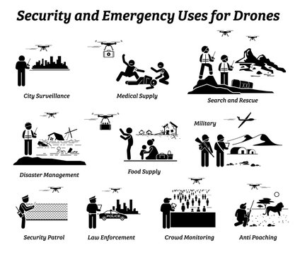 Drone usage and applications for security and emergency. Vector icons of drones uses on surveillance, medical supply delivery, rescue, disaster, military, police, crowd monitoring, and anti poaching.