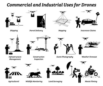 Drone usage and applications for commercial and industrial work. Vector icons of drones uses on shipping, delivery, mapping, infrastructure, construction, weather, agricultural, and land survey.