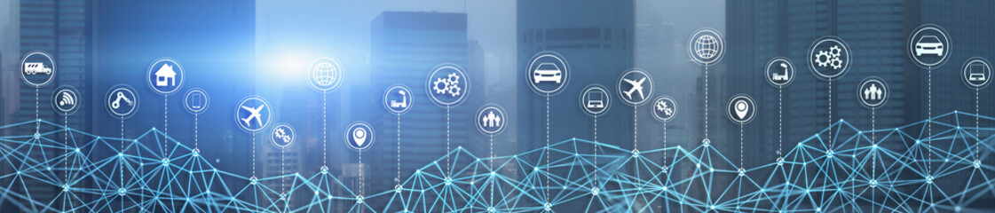 Smart City IOT Concept. Wallpaper for your site. Panoramic Business Banner. Fototapete