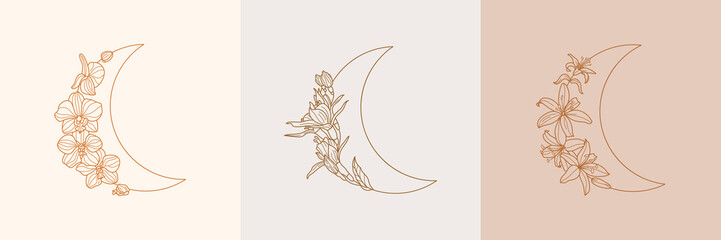 Set of Crescent moon of orchid and Lily flowers in trendy linear minimal style. Vector floral outline emblems