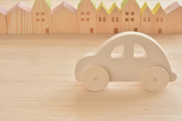 Wooden car on a wood background