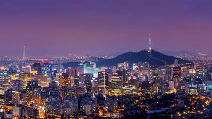 Aluminium Prints Seoul Downtown cityscape at night in Seoul, South Korea.