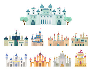 Poster Turquoise Medieval castle set. Ancient castle, citadel with arches, fortress with minarets, royal palace, gothic and renaissance buildings with gates, historical, fantasy design. Vector graphics in flat style.